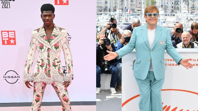 Lil Nas X: Paras Griffin/Getty Images for BET; Elton: George Pimentel/WireImage